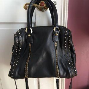 Oryany Pebbled Leather Studded Shoulder Bag
